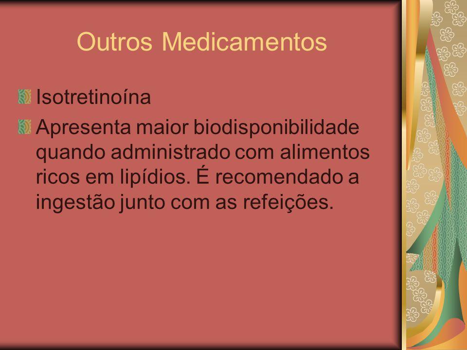 Outros Medicamentos Isotretinoína Apresenta maior biodisponibilidade quando administrado com alimentos ricos em lipídios. É recomendado a ingestão jun