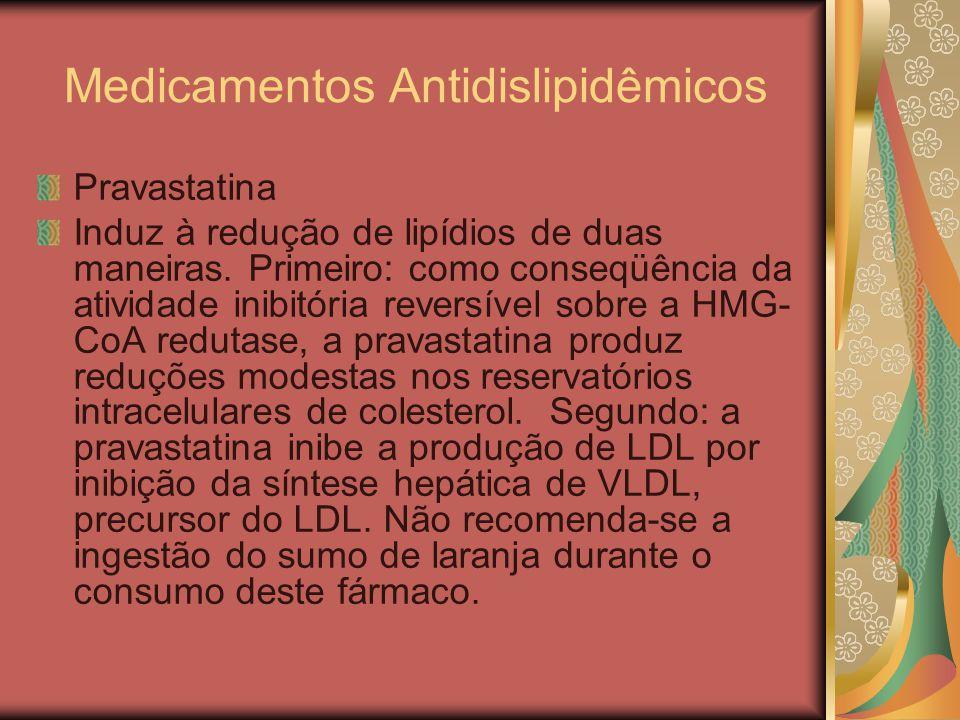 Medicamentos Antidislipidêmicos Pravastatina Induz à redução de lipídios de duas maneiras. Primeiro: como conseqüência da atividade inibitória reversí