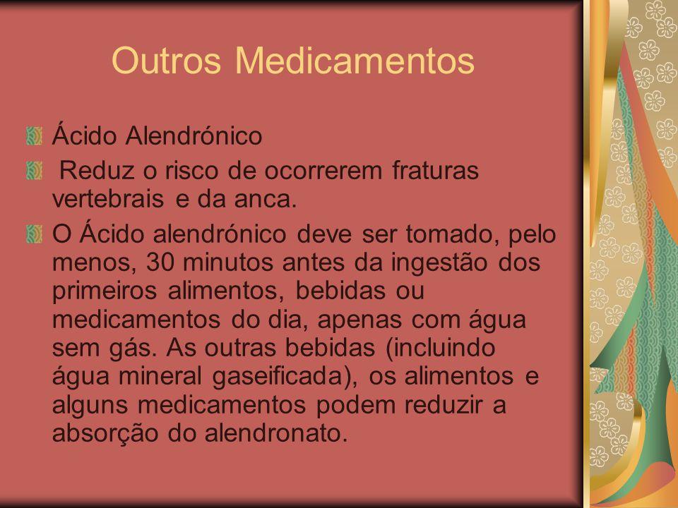Outros Medicamentos Ácido Alendrónico Reduz o risco de ocorrerem fraturas vertebrais e da anca. O Ácido alendrónico deve ser tomado, pelo menos, 30 mi