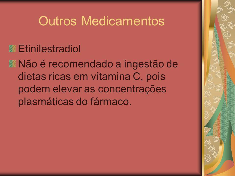 Outros Medicamentos Etinilestradiol Não é recomendado a ingestão de dietas ricas em vitamina C, pois podem elevar as concentrações plasmáticas do fárm