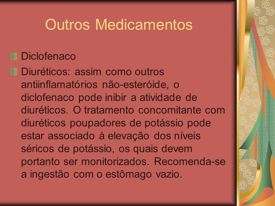 Outros Medicamentos Diclofenaco Diuréticos: assim como outros antiinflamatórios não-esteróide, o diclofenaco pode inibir a atividade de diuréticos. O