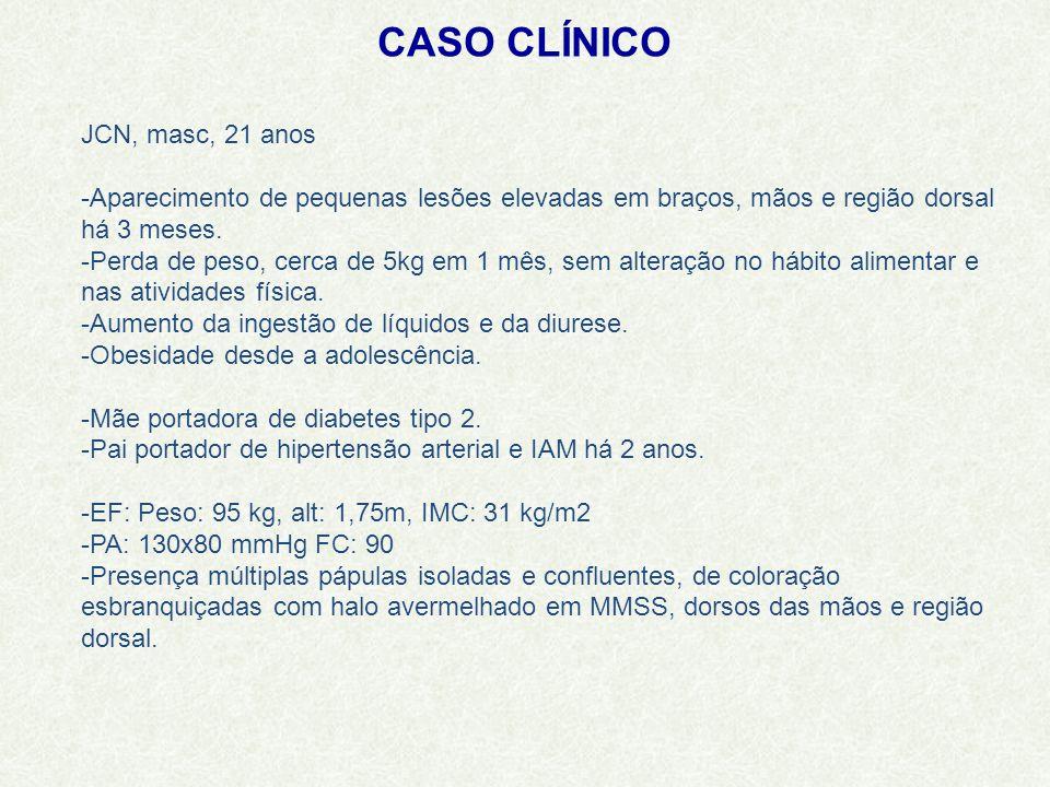 CASO CLÍNICO JCN, masc, 21 anos -Aparecimento de pequenas lesões elevadas em braços, mãos e região dorsal há 3 meses.