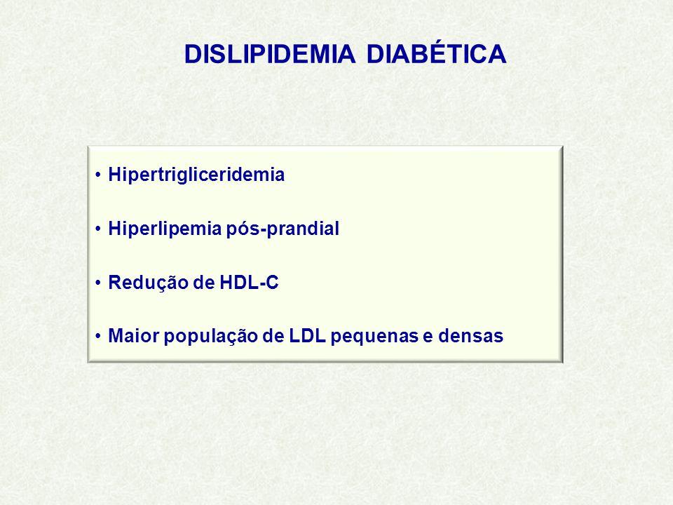 DISLIPIDEMIA DIABÉTICA Hipertrigliceridemia Hiperlipemia pós-prandial Redução de HDL-C Maior população de LDL pequenas e densas