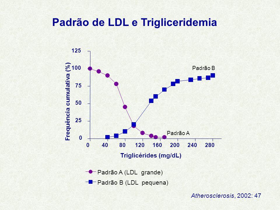 Padrão A (LDL grande) Padrão B (LDL pequena) 04080120160200240280 0 25 50 75 100 125 Triglicérides (mg/dL) Frequência cumulativa (%) Padrão A Padrão B Padrão de LDL e Trigliceridemia Atherosclerosis, 2002: 47