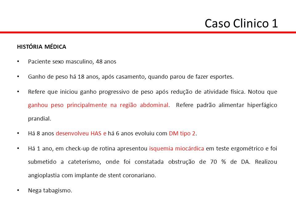 Caso Clinico 1 EXAME FÍSICO: Peso: 101 Kg Altura: 1,70 m IMC: 34,9 Kg/m2 Circunf Abdominal: 116 cm Quadril : 114 cm Relação cintura/quadril: 1,0 PA: 140 x90 mmHg EXAMES LABORATORIAIS: Glicemia: 150 mg/dL (VR:70-99) Colesterol total: 215 mg/dL (VR: <200) Insulina 40  U/mLHDL: 38 mg/dL (VR: > 45) Leptina: 40 ng/mL (VR 2,0-5,6 ng/mL para IMC nl)LDL: 110 mg/dL (VR < 130) Adiponectina: 14  g/mLTriglicérides: 235 mg/dL (VR< 150)
