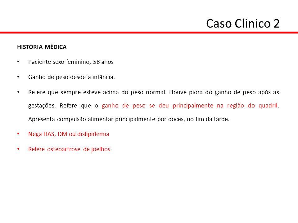 Caso Clinico 2 EXAME FÍSICO: Peso: 101 Kg Altura: 1,55 m IMC: 42 Kg/m2 Circunf Abdominal: 106 cm Quadril : 136 cm Relação cintura/quadril: 0,78 PA: 110 x 70 mmHg EXAMES LABORATORIAIS: Glicemia: 76 mg/dL (VR:70-99) Colesterol total: 193 mg/dL (VR: <200) Insulina 12  U/mLHDL: 52 mg/dL (VR: > 45) Leptina: 95 ng/mL LDL: 115 mg/dL (VR < 130) Adiponectina: 28  g/mLTriglicérides: 130 mg/dL (VR< 150)