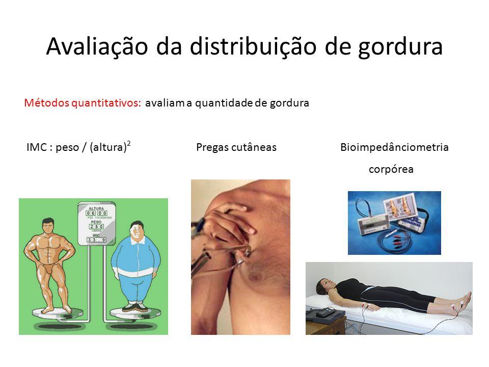 Avaliação da distribuição de gordura Métodos quantitativos: avaliam a quantidade de gordura IMC : peso / (altura) 2 Pregas cutâneas Bioimpedânciometri