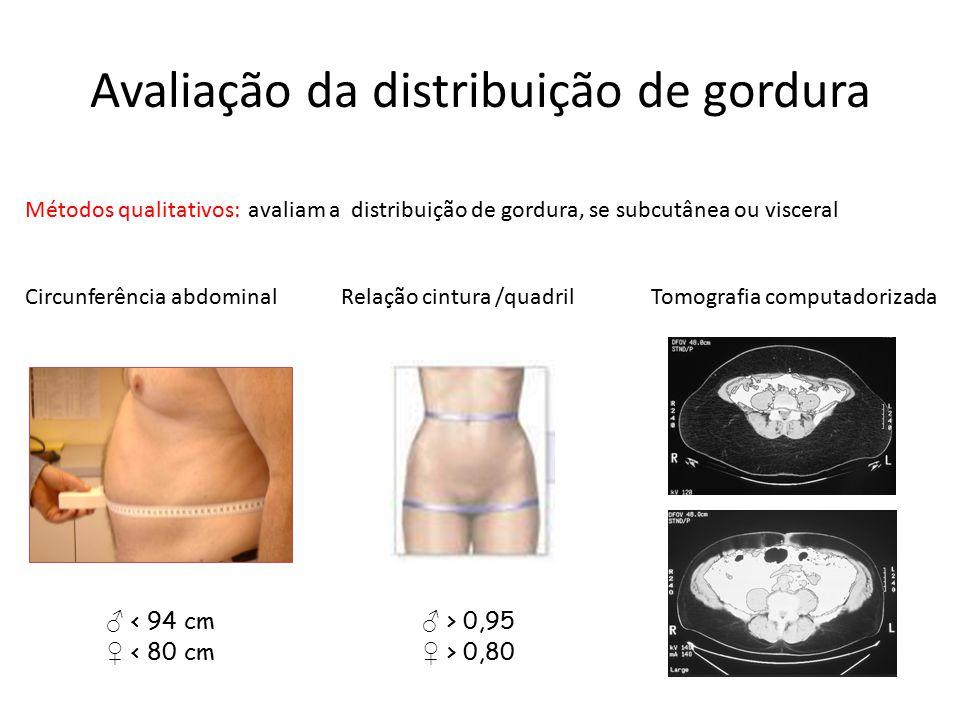 Avaliação da distribuição de gordura Métodos qualitativos: avaliam a distribuição de gordura, se subcutânea ou visceral Circunferência abdominal Relaç