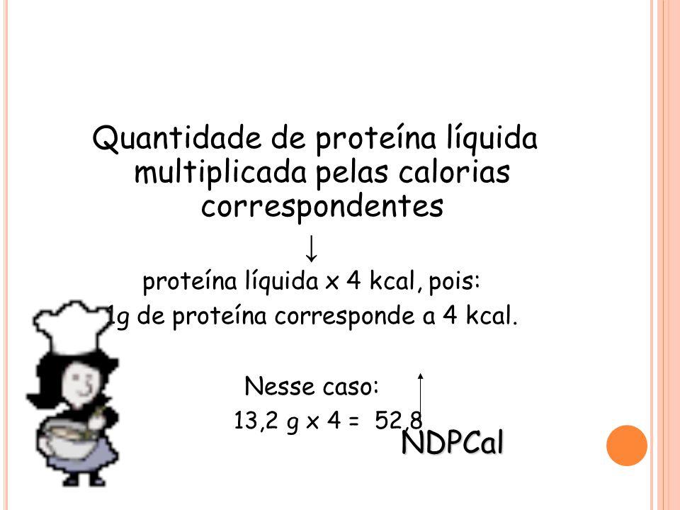 Quantidade de proteína líquida multiplicada pelas calorias correspondentes ↓ proteína líquida x 4 kcal, pois: 1g de proteína corresponde a 4 kcal.