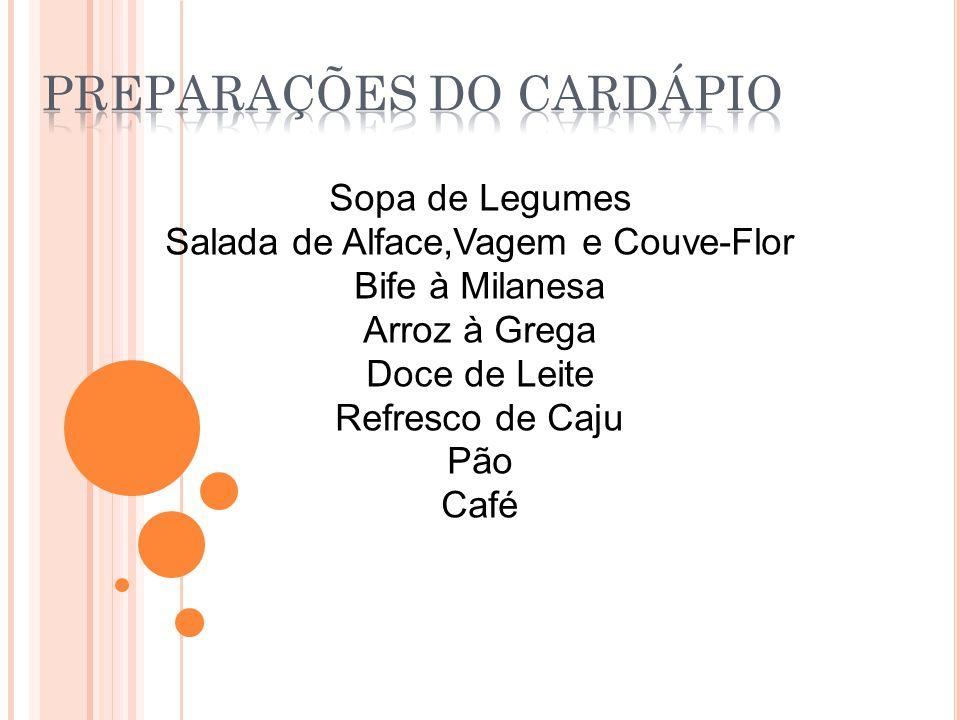 Sopa de Legumes Salada de Alface,Vagem e Couve-Flor Bife à Milanesa Arroz à Grega Doce de Leite Refresco de Caju Pão Café
