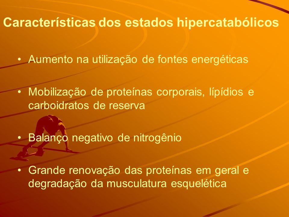 Características dos estados hipercatabólicos Aumento na utilização de fontes energéticas Mobilização de proteínas corporais, lípídios e carboidratos de reserva Balanço negativo de nitrogênio Grande renovação das proteínas em geral e degradação da musculatura esquelética