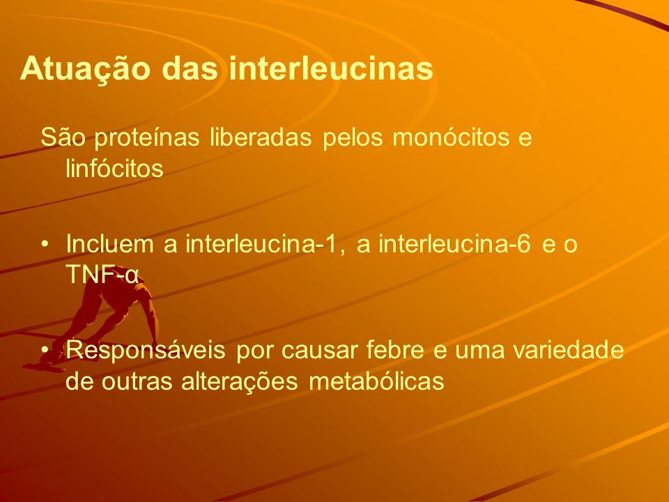 Atuação das interleucinas São proteínas liberadas pelos monócitos e linfócitos Incluem a interleucina-1, a interleucina-6 e o TNF-α Responsáveis por causar febre e uma variedade de outras alterações metabólicas