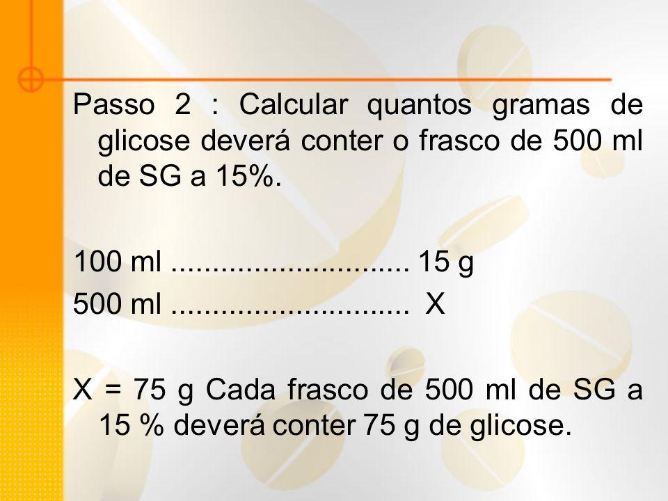Passo 2 : Calcular quantos gramas de glicose deverá conter o frasco de 500 ml de SG a 15%. 100 ml............................. 15 g 500 ml............