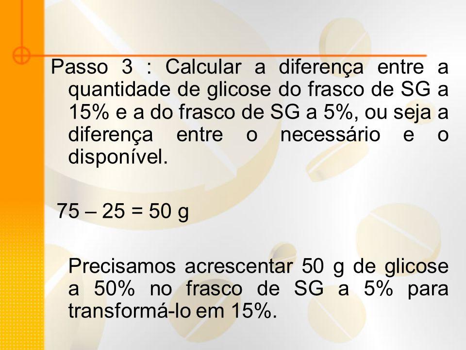 Passo 3 : Calcular a diferença entre a quantidade de glicose do frasco de SG a 15% e a do frasco de SG a 5%, ou seja a diferença entre o necessário e