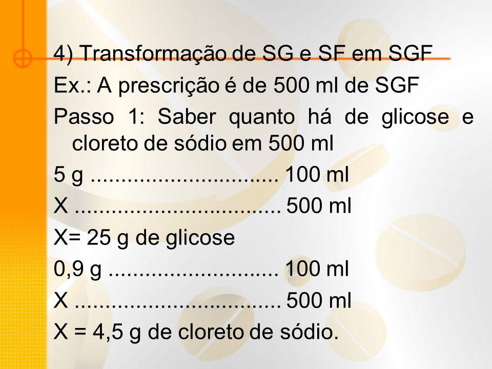 4) Transformação de SG e SF em SGF Ex.: A prescrição é de 500 ml de SGF Passo 1: Saber quanto há de glicose e cloreto de sódio em 500 ml 5 g..........
