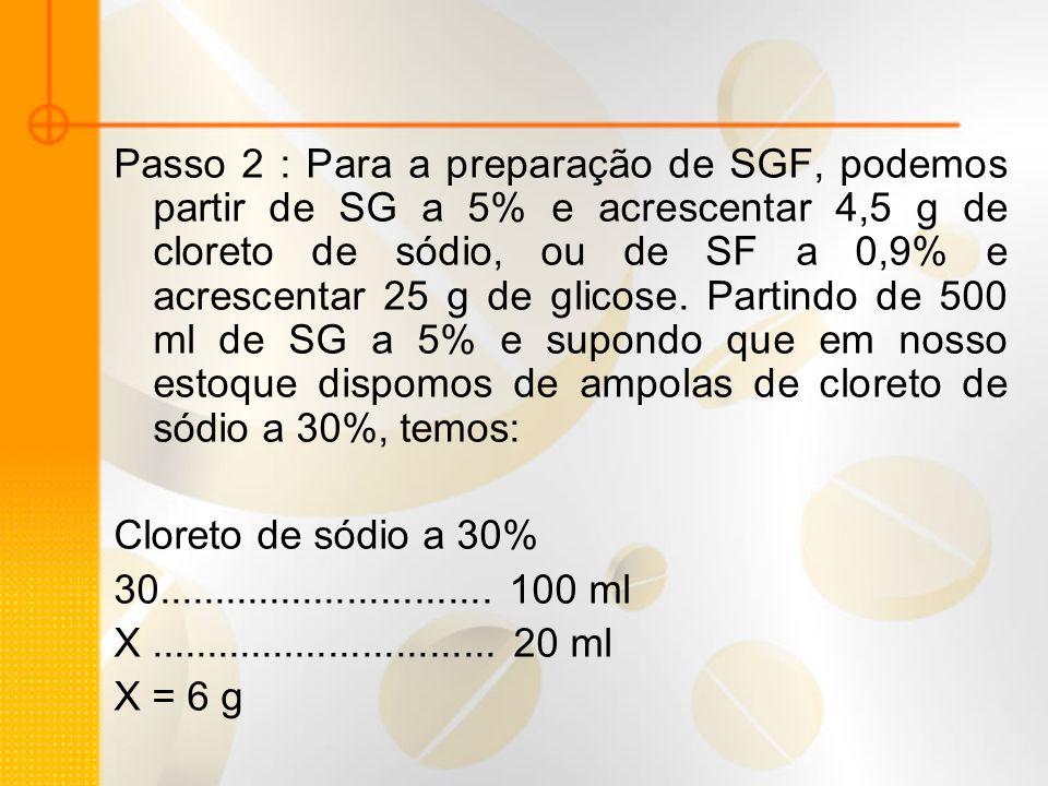 Passo 2 : Para a preparação de SGF, podemos partir de SG a 5% e acrescentar 4,5 g de cloreto de sódio, ou de SF a 0,9% e acrescentar 25 g de glicose.