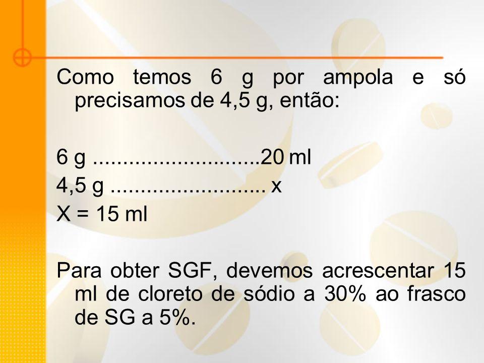 Como temos 6 g por ampola e só precisamos de 4,5 g, então: 6 g............................20 ml 4,5 g.......................... x X = 15 ml Para obter