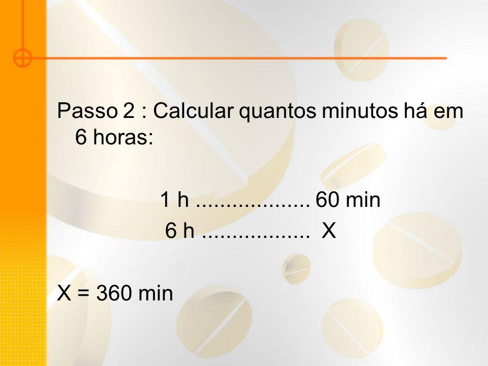 Passo 2 : Calcular quantos minutos há em 6 horas: 1 h................... 60 min 6 h.................. X X = 360 min