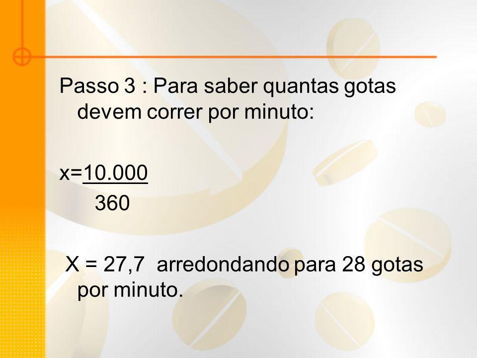 Passo 3 : Para saber quantas gotas devem correr por minuto: x=10.000 360 X = 27,7 arredondando para 28 gotas por minuto.