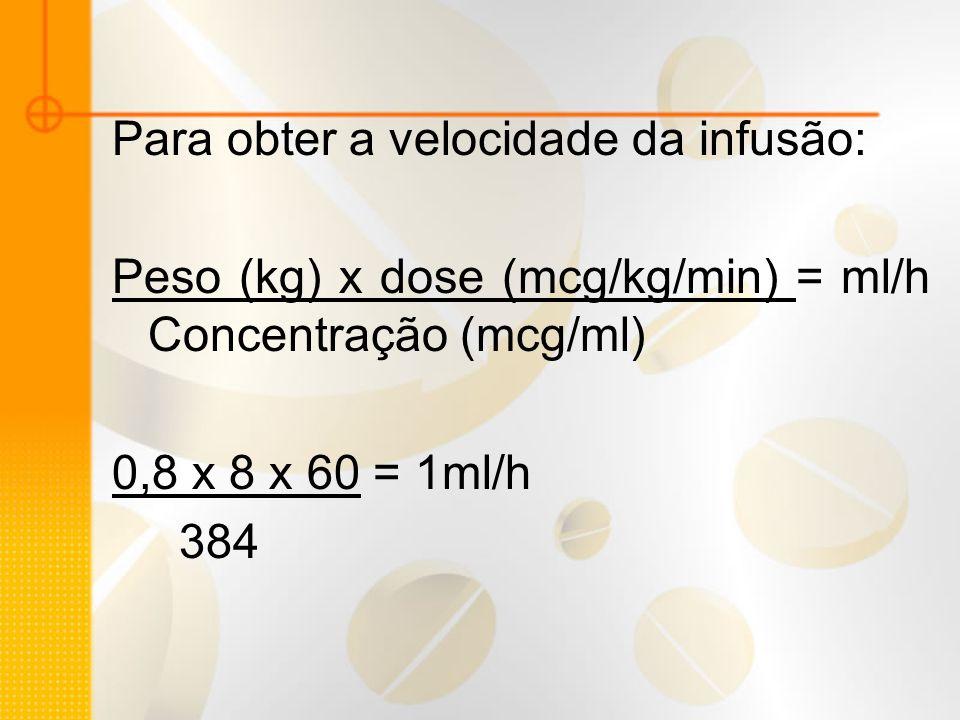 Para obter a velocidade da infusão: Peso (kg) x dose (mcg/kg/min) = ml/h Concentração (mcg/ml) 0,8 x 8 x 60 = 1ml/h 384