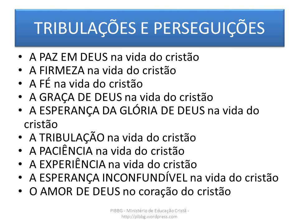 TRIBULAÇÕES E PERSEGUIÇÕES PIBBG - Ministério de Educação Cristã - http://pibbg.wordpress.com A PAZ EM DEUS na vida do cristão A FIRMEZA na vida do cr