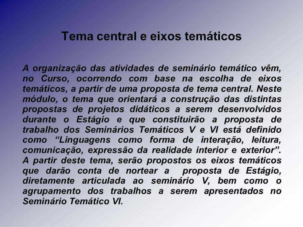 Tema central e eixos temáticos A organização das atividades de seminário temático vêm, no Curso, ocorrendo com base na escolha de eixos temáticos, a partir de uma proposta de tema central.