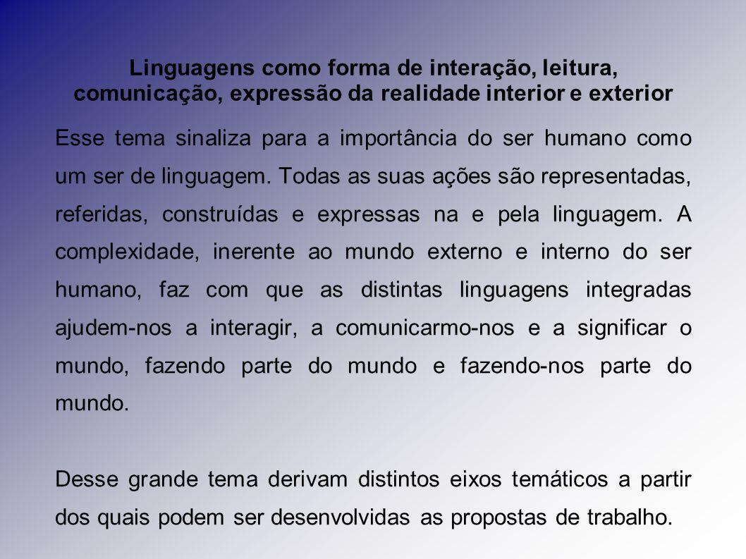 Esse tema sinaliza para a importância do ser humano como um ser de linguagem.