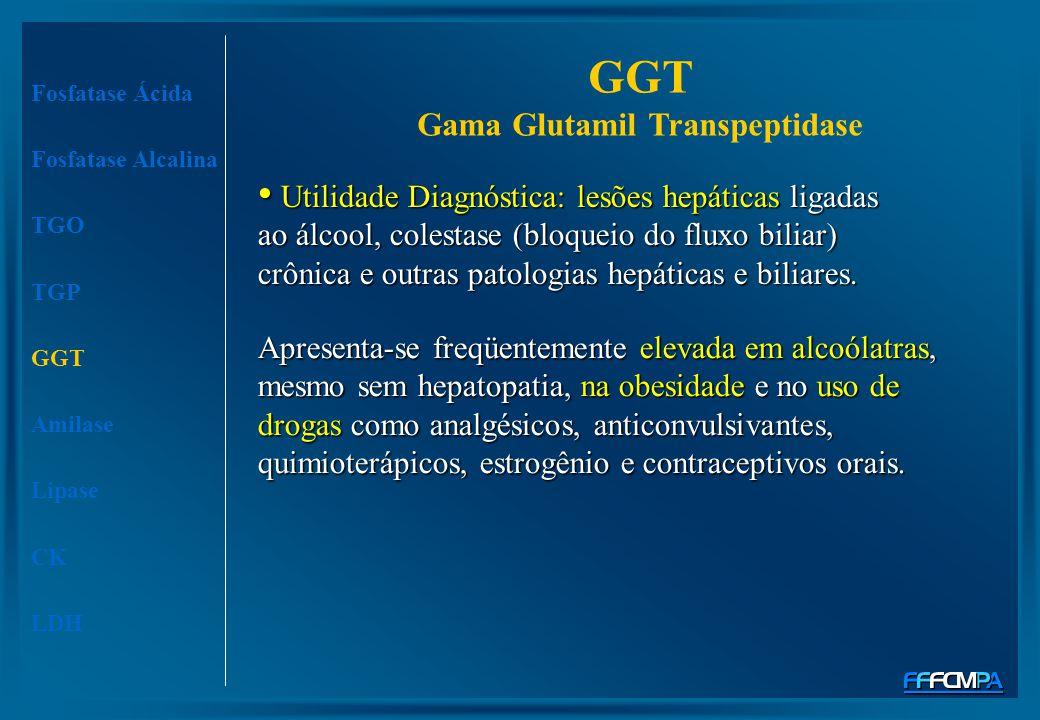 Fosfatase Ácida Fosfatase Alcalina TGO TGP GGT Amilase Lipase CK LDH Apresenta-se freqüentemente elevada em alcoólatras, mesmo sem hepatopatia, na obe