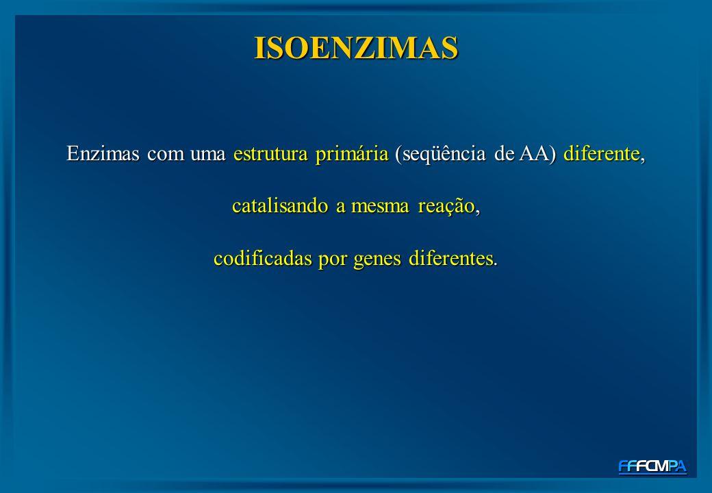 ISOENZIMAS Enzimas com uma estrutura primária (seqüência de AA) diferente, catalisando a mesma reação, codificadas por genes diferentes.