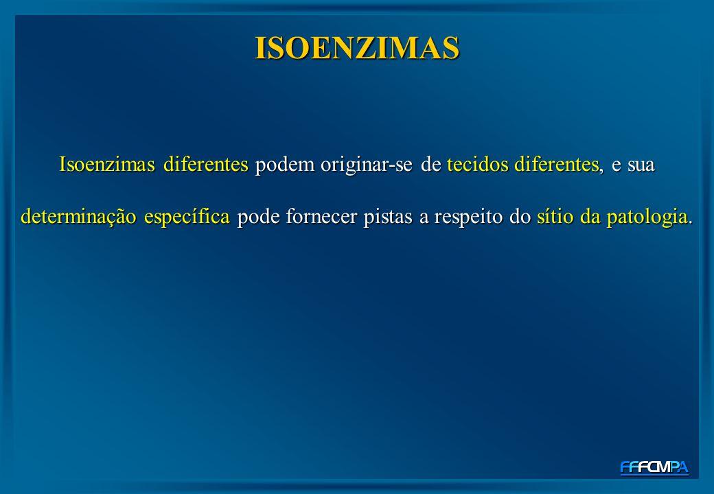 ISOENZIMAS Isoenzimas diferentes podem originar-se de tecidos diferentes, e sua determinação específica pode fornecer pistas a respeito do sítio da pa