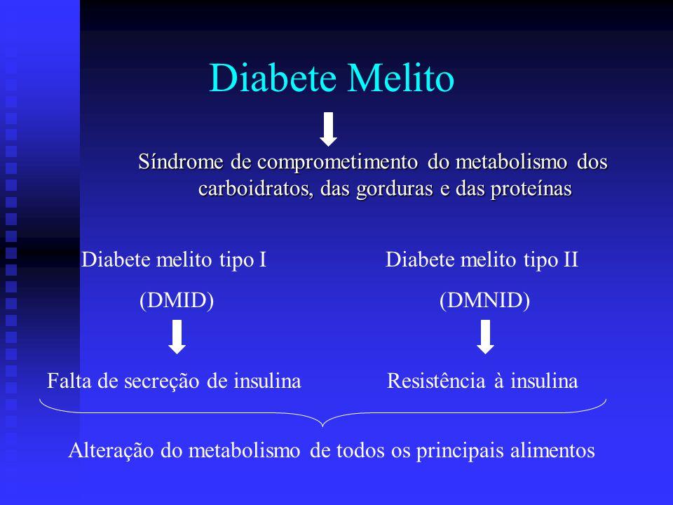 Ausência de insulina Resistência à insulina Metabolismo da glicose Impedir a sua captação eficiente pela maioria das células do corpo Menor utilização de glicose pelas células Aumento da utilização de gorduras e proteínas Fisiopatologia