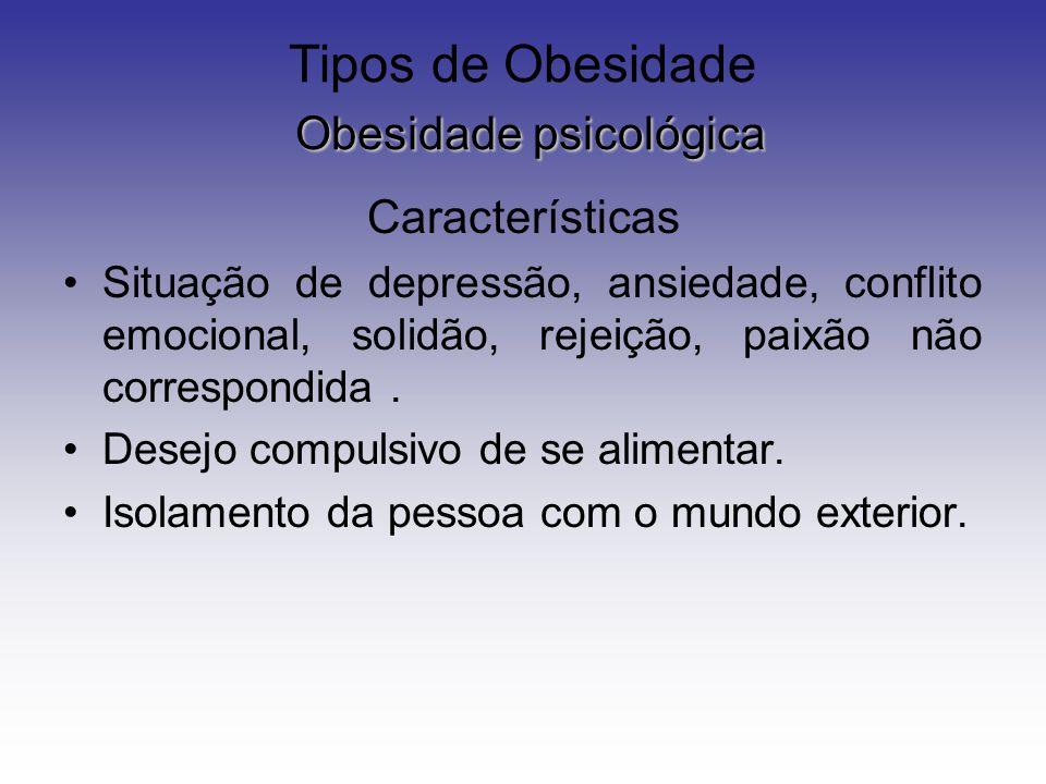 Obesidade psicológica Tipos de Obesidade Obesidade psicológica Características Situação de depressão, ansiedade, conflito emocional, solidão, rejeição, paixão não correspondida.
