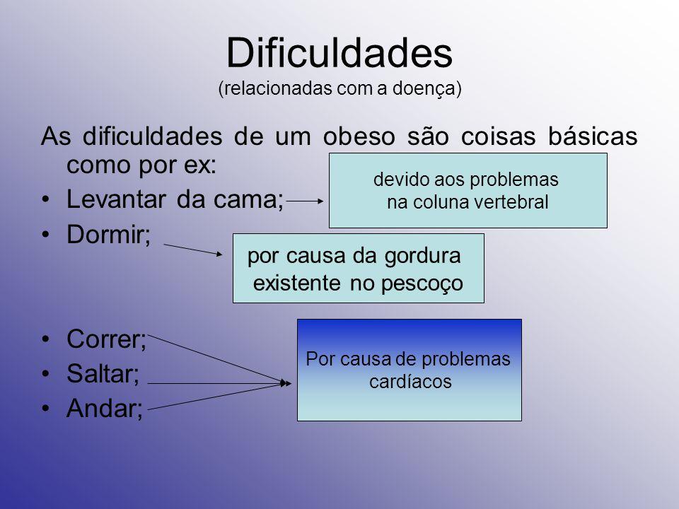 Dificuldades (relacionadas com a doença) As dificuldades de um obeso são coisas básicas como por ex: Levantar da cama; Dormir; Correr; Saltar; Andar; Por causa de problemas cardíacos devido aos problemas na coluna vertebral por causa da gordura existente no pescoço