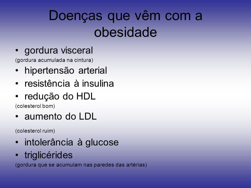 Doenças que vêm com a obesidade gordura visceral (gordura acumulada na cintura) hipertensão arterial resistência à insulina redução do HDL (colesterol bom) aumento do LDL (colesterol ruim) intolerância à glucose triglicérides (gordura que se acumulam nas paredes das artérias)
