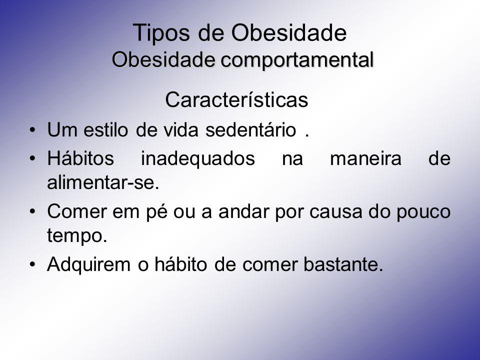 Obesidade comportamental Tipos de Obesidade Obesidade comportamental Características Um estilo de vida sedentário.
