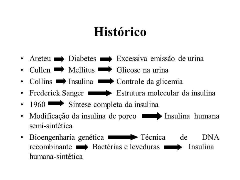 Histórico AreteuDiabetesExcessiva emissão de urina CullenMellitusGlicose na urina CollinsInsulinaControle da glicemia Frederick SangerEstrutura molecu