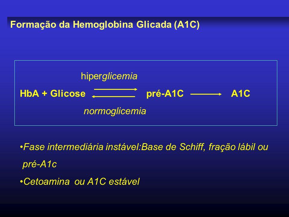 Formação da Hemoglobina Glicada (A1C) hiperglicemia HbA + Glicose pré-A1C A1C normoglicemia Fase intermediária instável:Base de Schiff, fração lábil o