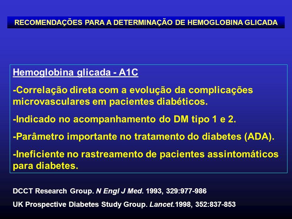 Hemoglobina glicada - A1C -Correlação direta com a evolução da complicações microvasculares em pacientes diabéticos. -Indicado no acompanhamento do DM