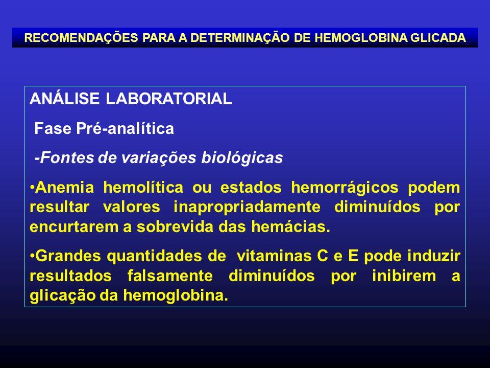 ANÁLISE LABORATORIAL Fase Pré-analítica -Fontes de variações biológicas Anemia hemolítica ou estados hemorrágicos podem resultar valores inapropriadam