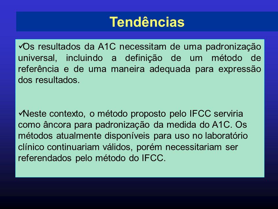 Tendências Os resultados da A1C necessitam de uma padronização universal, incluindo a definição de um método de referência e de uma maneira adequada p