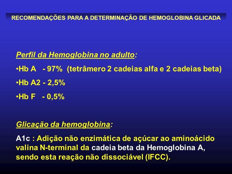 Perfil da Hemoglobina no adulto: Hb A - 97% (tetrâmero 2 cadeias alfa e 2 cadeias beta) Hb A2 - 2,5% Hb F - 0,5% Glicação da hemoglobina: A1c : Adição