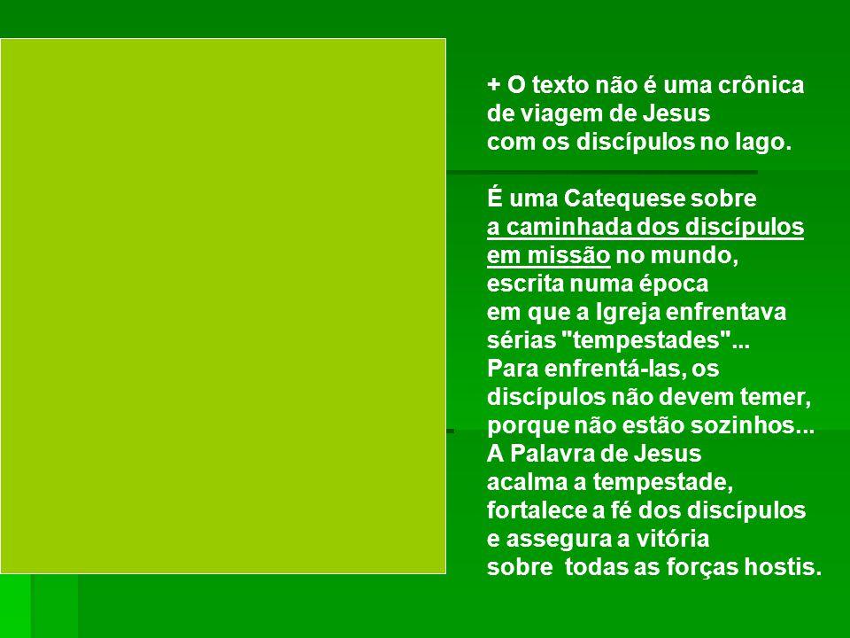 + O texto não é uma crônica de viagem de Jesus com os discípulos no lago.