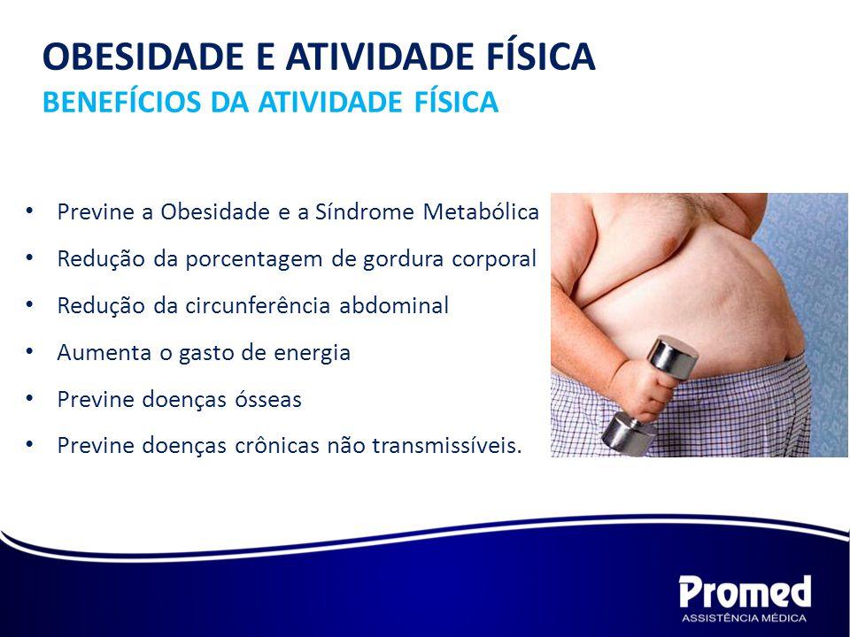 Previne a Obesidade e a Síndrome Metabólica Redução da porcentagem de gordura corporal Redução da circunferência abdominal Aumenta o gasto de energia Previne doenças ósseas Previne doenças crônicas não transmissíveis.