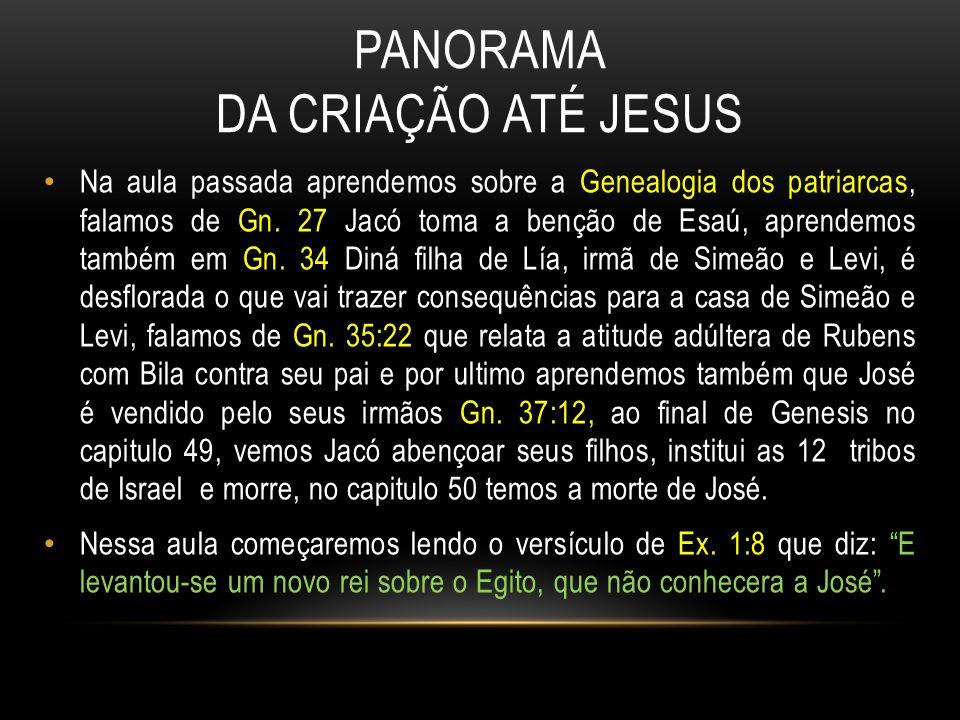 PANORAMA DA CRIAÇÃO ATÉ JESUS Na aula passada aprendemos sobre a Genealogia dos patriarcas, falamos de Gn.
