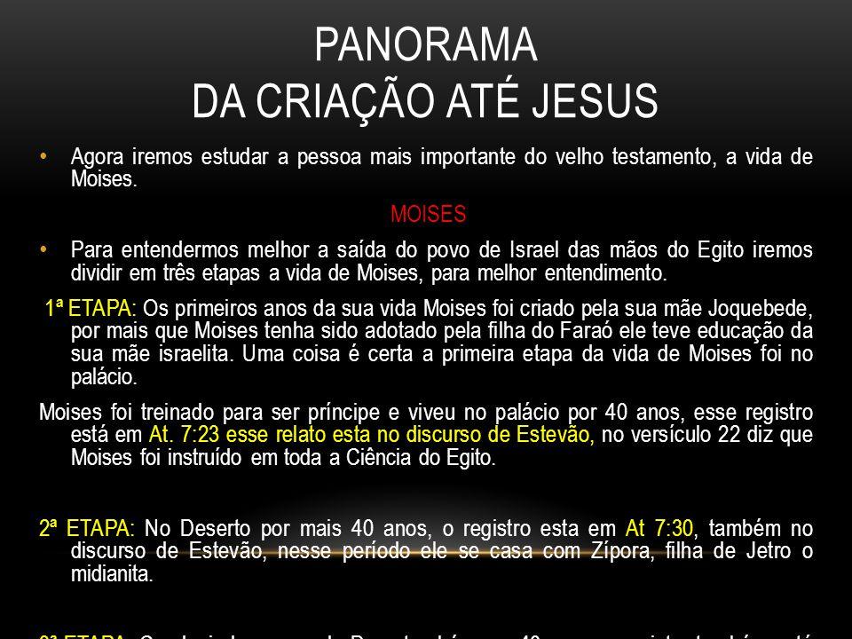 PANORAMA DA CRIAÇÃO ATÉ JESUS Agora iremos estudar a pessoa mais importante do velho testamento, a vida de Moises.