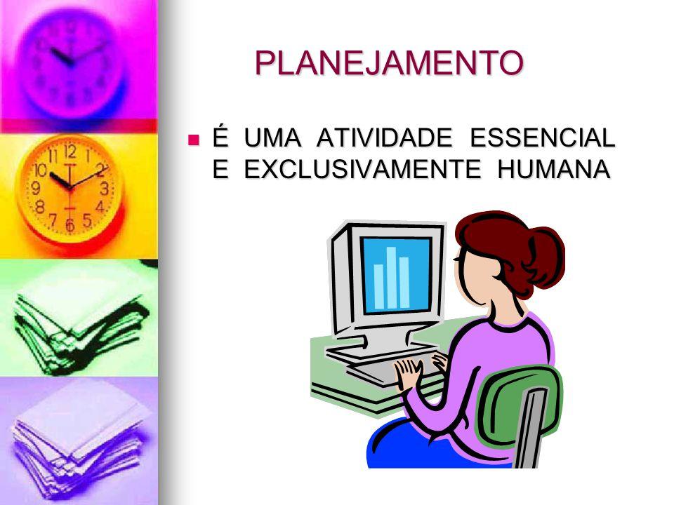 PLANEJAMENTO É UMA ATIVIDADE ESSENCIAL E EXCLUSIVAMENTE HUMANA É UMA ATIVIDADE ESSENCIAL E EXCLUSIVAMENTE HUMANA