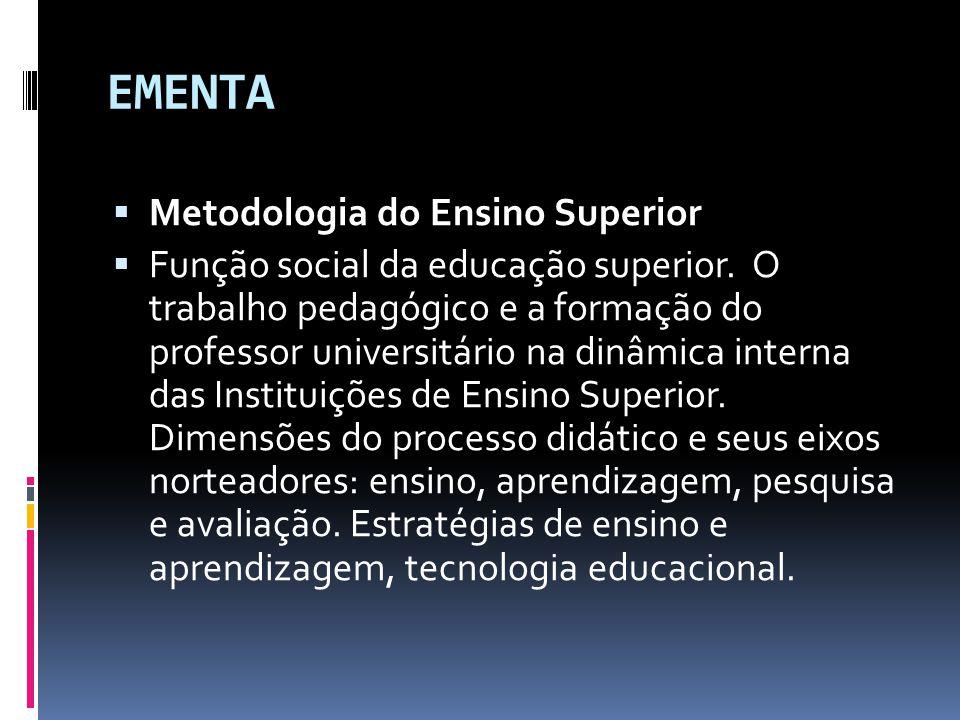 EMENTA  Metodologia do Ensino Superior  Função social da educação superior.
