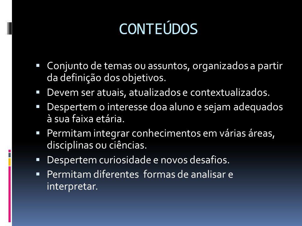 CONTEÚDOS  Conjunto de temas ou assuntos, organizados a partir da definição dos objetivos.