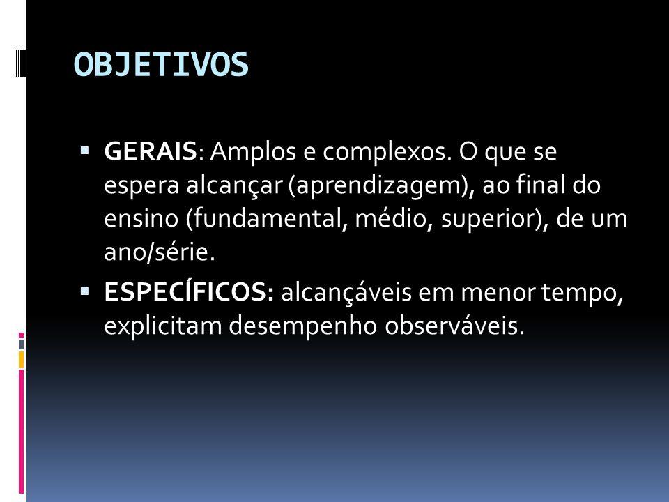 OBJETIVOS  GERAIS: Amplos e complexos.
