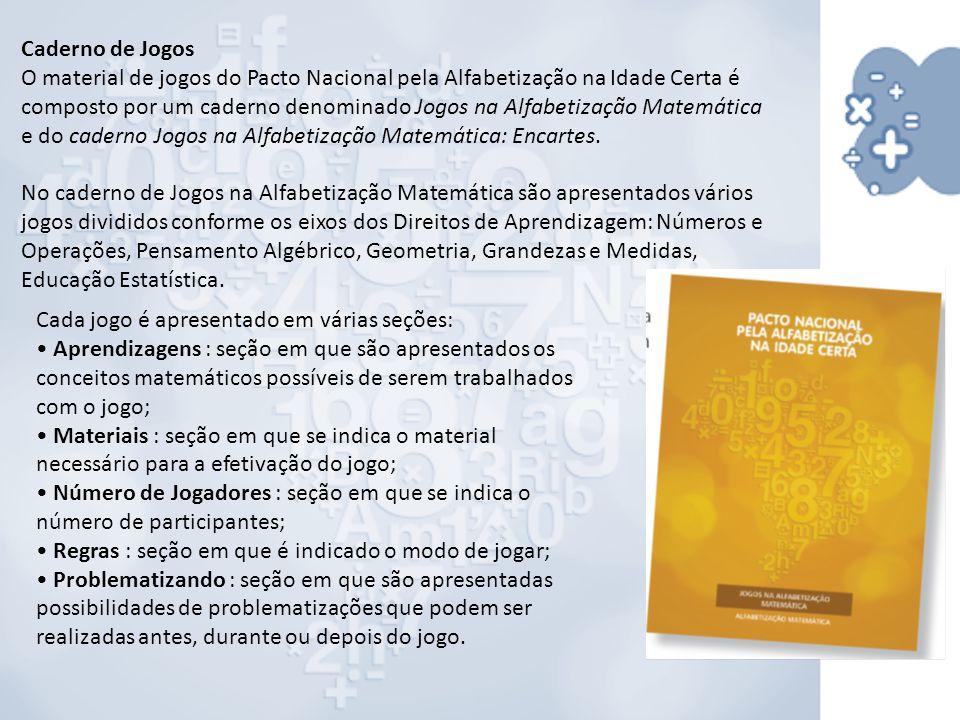 Caderno de Jogos O material de jogos do Pacto Nacional pela Alfabetização na Idade Certa é composto por um caderno denominado Jogos na Alfabetização Matemática e do caderno Jogos na Alfabetização Matemática: Encartes.